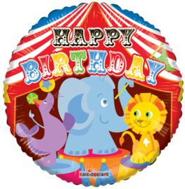 Folie Ballon Happy B-Day Circus (leeg)