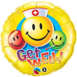 Folie ballon Get Well Smiley (leeg)