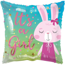 Folie Ballon It's a Girl Rabbit (leeg)