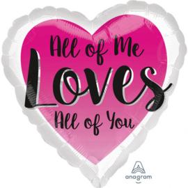 Folie Ballon All of Me Loves All of you (leeg)