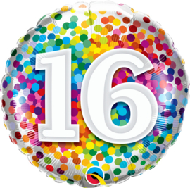 Folie Ballon Rainbow Confetti - 16 (leeg)