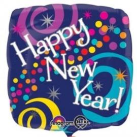 Folie Ballon Happy New Year Swirls (leeg)