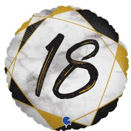 Folie Ballon Cijfer 18 Marble (leeg)