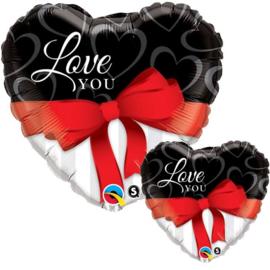 Folie ballon Love You Red Ribbon (leeg)