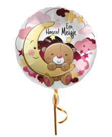 Folie Ballon Hoera een Meisje (leeg)