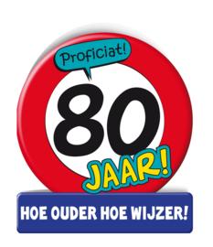 Wenskaart 80 jr verkeersbord