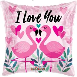 Folie Ballon I Love You Flamingo (leeg)
