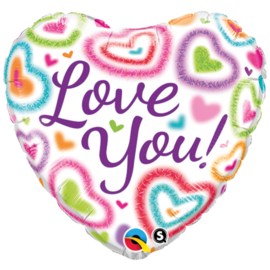 Folie Ballon Love you Meerkleurig (leeg)