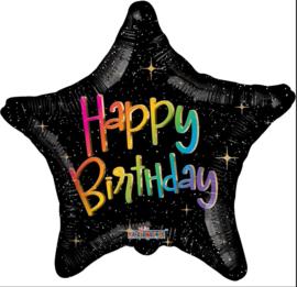 Folie Ballon Happy Birthday Stars (leeg)
