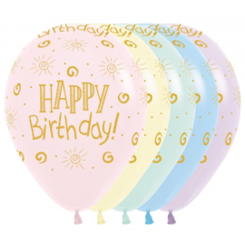 Latex Ballonnen Happy Birthday Pastel Matte