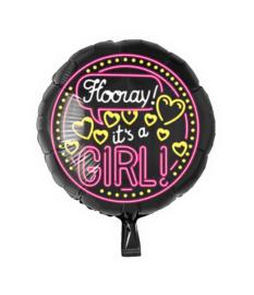 Folie Ballon Hooray It's a Girl (leeg)