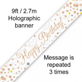 Banner 2,7m Happy Birthday Sparkling Fizz Rosegold & Wit