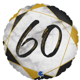 Folie Ballon Cijfer 60 Marble (leeg)