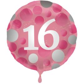 Folie Ballon Glossy Pink 16 Jaar (leeg)