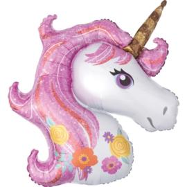 Folie ballon Unicorn / Eenhoorn Roze (leeg)