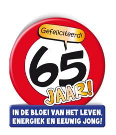Wenskaart 65 jr Verkeersbord