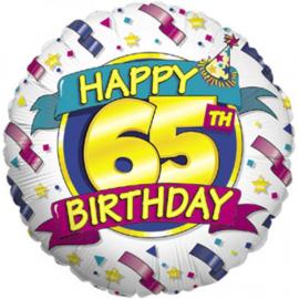 Folie Ballon Happy 65th Birthday (leeg)