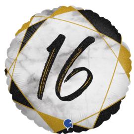 Folie Ballon Cijfer 16 Marble (leeg)