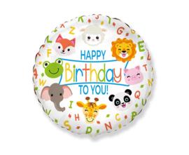 Folie Ballon Happy Birthday To You Animals (leeg)