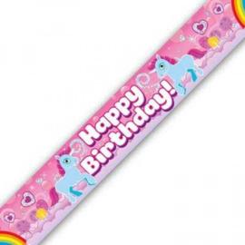 Banner 2.7m - Happy Birthday - Eenhoorn