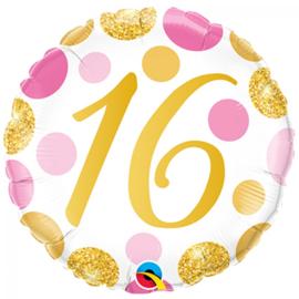 Folie Ballon Pink & Gold Dots - 16 (leeg)