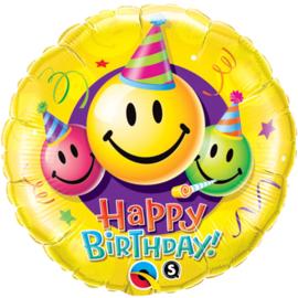 Folie ballon Happy Birthday Smiley Faces (leeg)