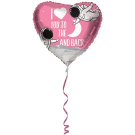 Folie Ballon I Love You to the moon and back (leeg)