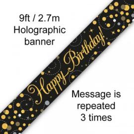 Banner 2.7m - Sparkling Fizz Birthday - Black & Gold