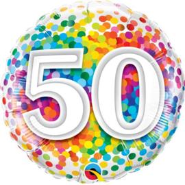 Folie Ballon Rainbow Confetti - 50 (leeg)