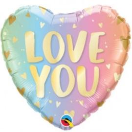 Folie Ballon Ombre & Hearts Love You (leeg)