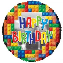 Folie Ballon Happy Birthday Lego (leeg)