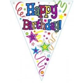 Happy B-Day Ribbon & Stars Vlaggenlijn