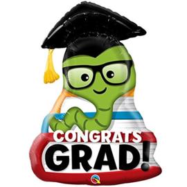 Folie Ballon Congrats Grad worm (leeg)