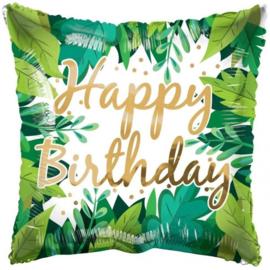 Folie Ballon Pillow Happy Birthday Leaves (leeg)