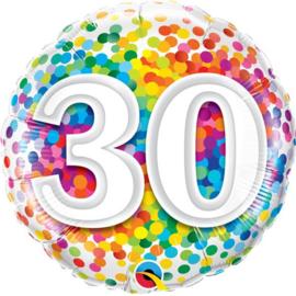 Folie Ballon Rainbow Confetti - 30 (leeg)