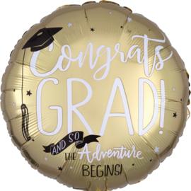 Folie Ballon Geslaagd  The Adventures Begins (leeg)