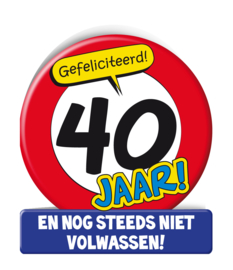 Wenskaart 40 jr Verkeersbord