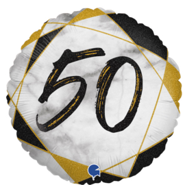 Folie Ballon Cijfer 50 Marble (leeg)