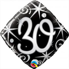 Folie ballon Square Elegant Sparkles & Swirls - 30 (leeg)