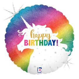 Folie Ballon Happy Birthday Unicorn Glitter (leeg)