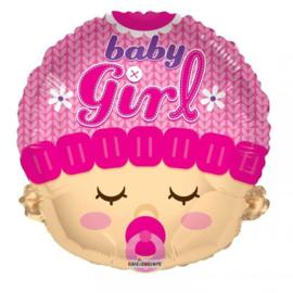 Folie ballon Baby Girl Hoofd (leeg)