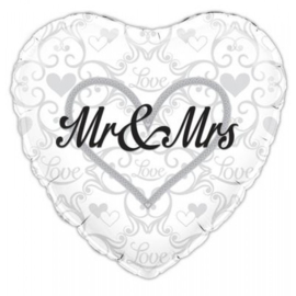 Folie ballon Mr & Mrs hart (leeg)