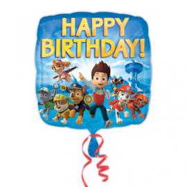 Folie ballon Paw Patrol Happy b-day Square (leeg)