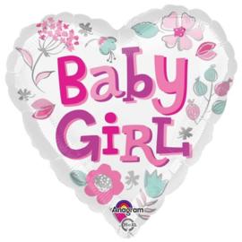 Folie ballon Baby Girl Bloemen (leeg)