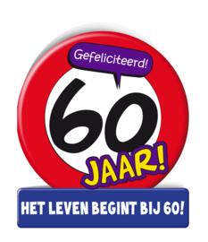 Wenskaart 60 jr verkeersbord
