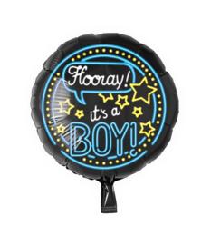 Folie Ballon Hooray It's a Boy (leeg)