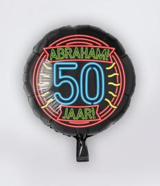 Folie Ballon 50 jaar Neon Abraham (leeg)