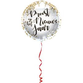 Folie ballon Proost op het nieuwe jaar (leeg)
