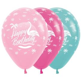 Latex Ballonnen Happy Birthday Flamingo