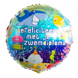 Folie Ballon Gefeliciteerd met je Zwemdiploma (leeg)